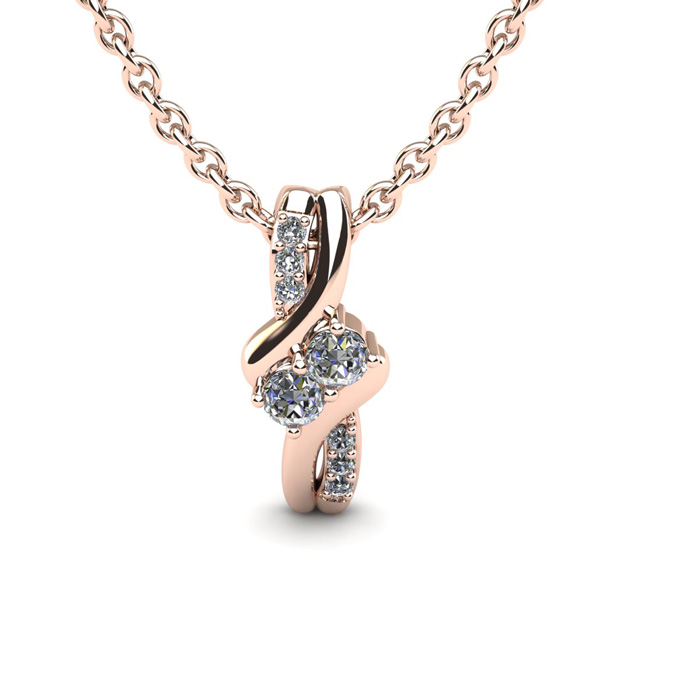 1/4 Carat Two Stone Diamond Knot Necklace In 14K Rose Gold