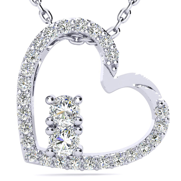 1/2 Carat Two Stone Diamond Heart Necklace In 14K White Gold