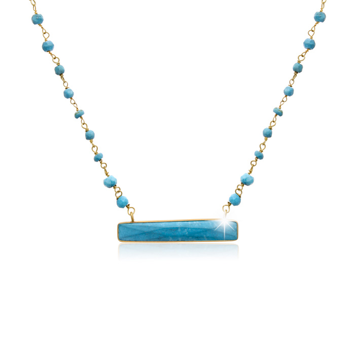 25 Carat Turquoise Bar Necklace In 14 Karat Yellow Gold, 18 Inches