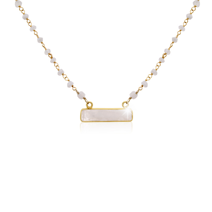 20 Carat Moonstone Bar Necklace In 14 Karat Yellow Gold, 18 Inches