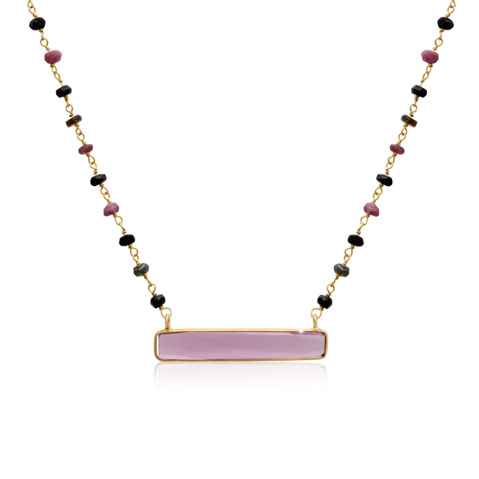 27 Carat Pink Tourmaline Bar Necklace In 14 Karat Yellow Gold, 18 Inches