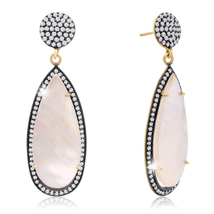 32 Carat Pear Shape Mother of Pearl and Simulated Diamond Dangle Earrings In 14K Yellow Gold