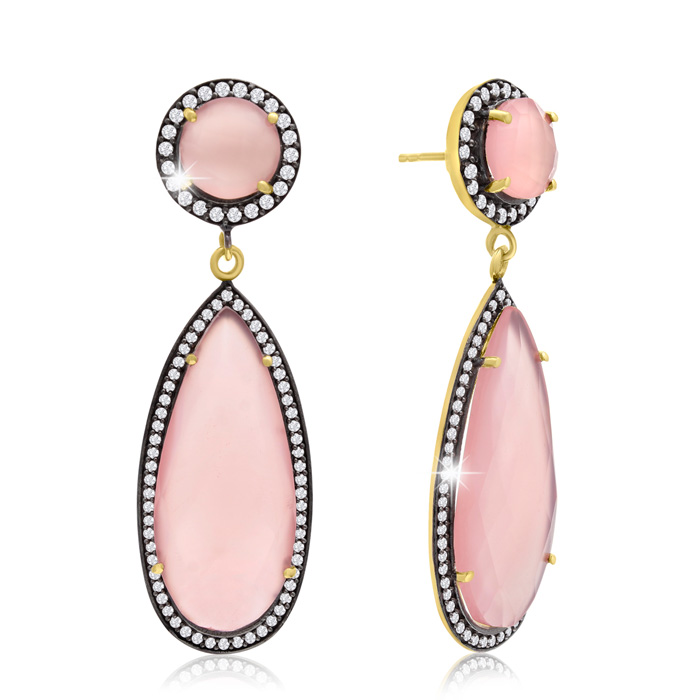 64 Carat Pear Shape Rose Quartz and Simulated Diamond Halo Dangle Earrings In 14K Yellow Gold