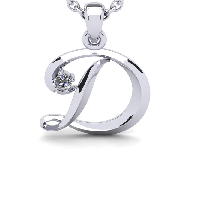 Diamond Accent D Swirly Initial Necklace In White Gold With Free 18 Inch Cable Chain