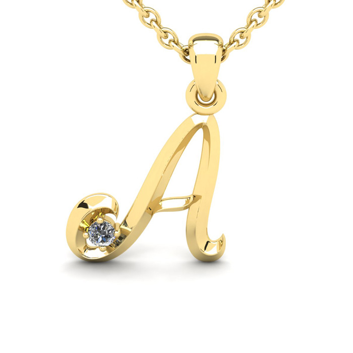 Diamond Accent A Swirly Initial Necklace In Yellow Gold With Free 18 Inch Cable Chain