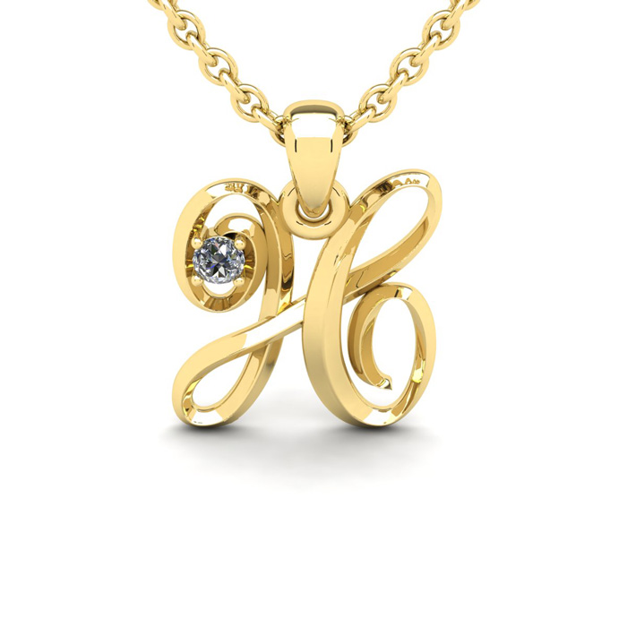 Diamond Accent H Swirly Initial Necklace In Yellow Gold With Free 18 Inch Cable Chain