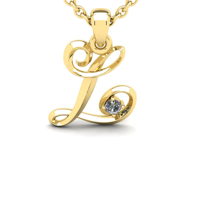 Diamond Accent L Swirly Initial Necklace In Yellow Gold With Free 18 Inch Cable Chain