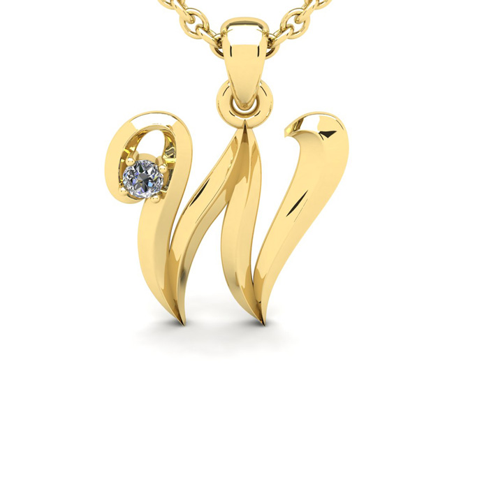 Diamond Accent W Swirly Initial Necklace In Yellow Gold With Free 18 Inch Cable Chain