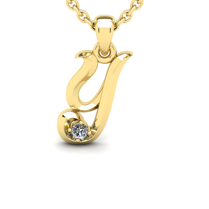 Diamond Accent Y Swirly Initial Necklace In Yellow Gold With Free 18 Inch Cable Chain