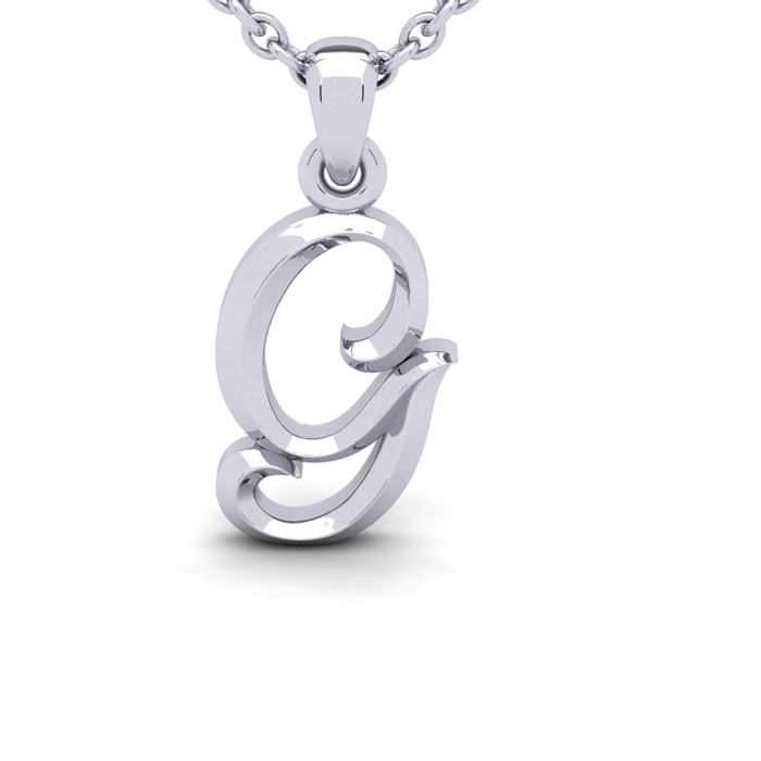 G Swirly Initial Necklace In Heavy White Gold With Free 18 Inch Cable Chain