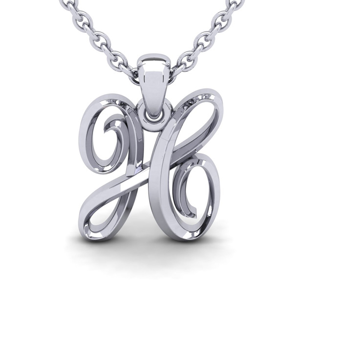 H Swirly Initial Necklace In Heavy White Gold With Free 18 Inch Cable Chain