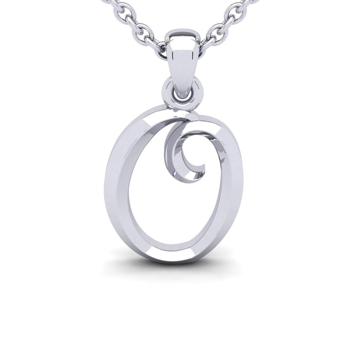 O Swirly Initial Necklace In Heavy White Gold With Free 18 Inch Cable Chain