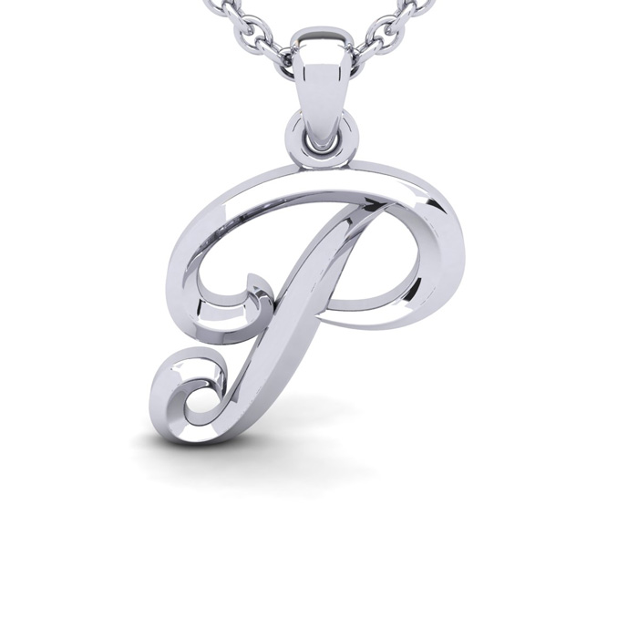 P Swirly Initial Necklace In Heavy White Gold With Free 18 Inch Cable Chain