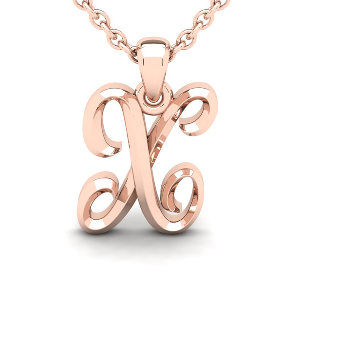 X Swirly Initial Necklace In Heavy Rose Gold With Free 18 Inch Cable Chain