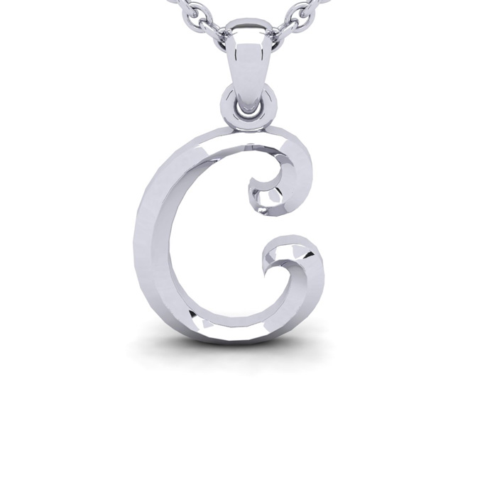 C Swirly Initial Necklace In Heavy 14K White Gold With Free 18 Inch Cable Chain