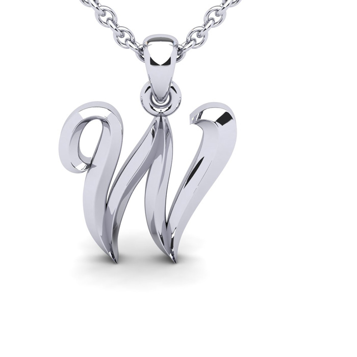 W Swirly Initial Necklace In Heavy 14K White Gold With Free 18 Inch Cable Chain