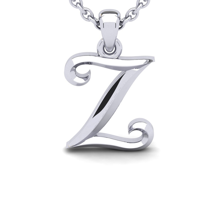 Z Swirly Initial Necklace In Heavy 14K White Gold With Free 18 Inch Cable Chain