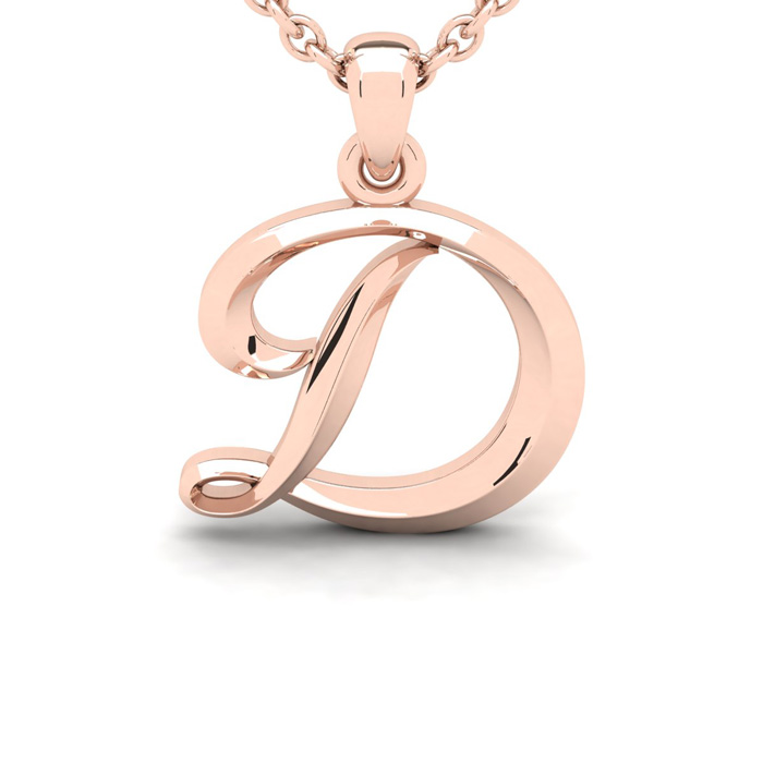 D Swirly Initial Necklace In Heavy 14K Rose Gold With Free 18 Inch Cable Chain