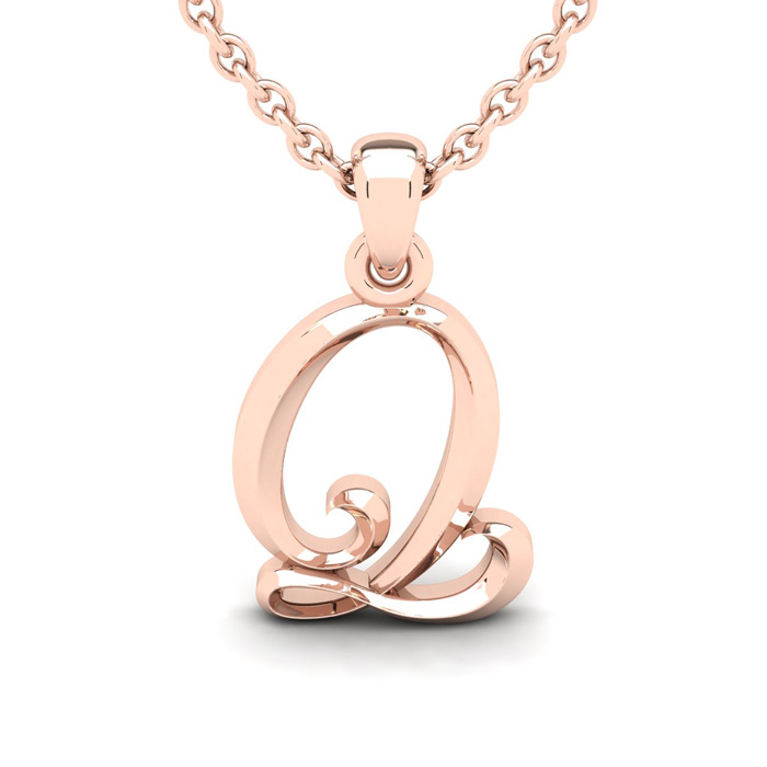 Q Swirly Initial Necklace In Heavy 14K Rose Gold With Free 18 Inch Cable Chain