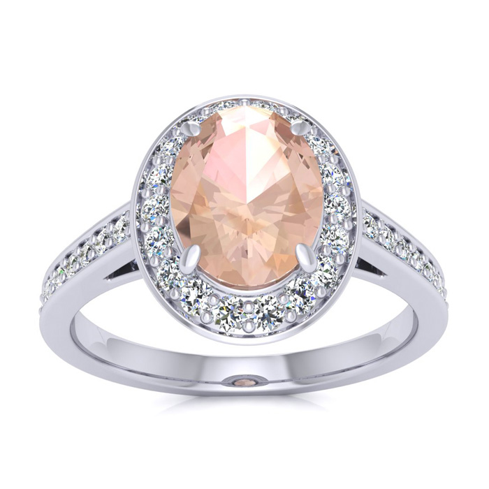 1 1/2 Carat Oval Shape Morganite and Halo Diamond Ring In 14 Karat White Gold