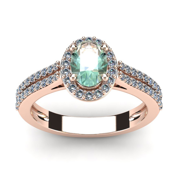 1 Carat Oval Shape Green Amethyst and Halo Diamond Ring In 14 Karat Rose Gold
