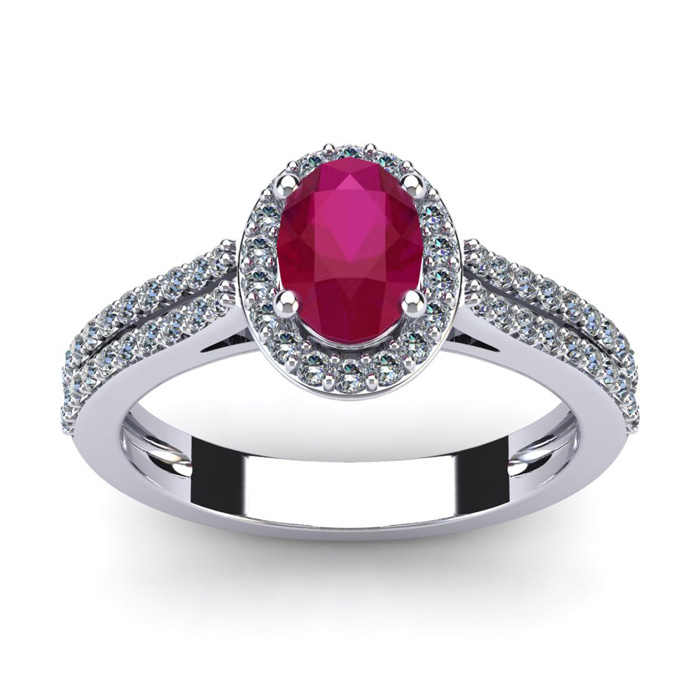 1 1/3 Carat Oval Shape Ruby and Halo Diamond Ring In 14 Karat White Gold