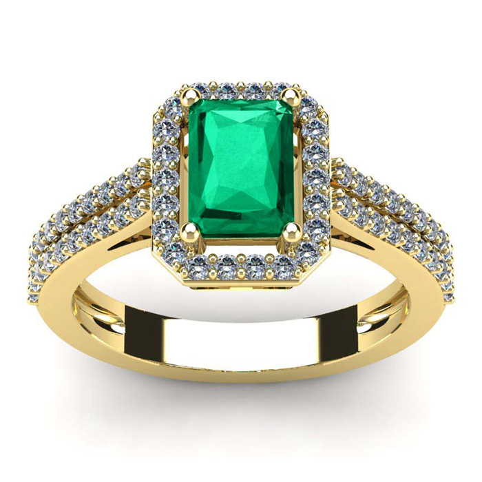 1 1/3 Carat Emerald Cut Emerald and Halo Diamond Ring In 14 Karat Yellow Gold