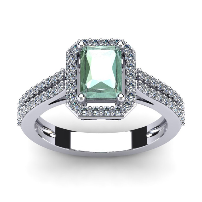 1 1/3 Carat Emerald Cut Green Amethyst and Halo Diamond Ring In 14 Karat White Gold