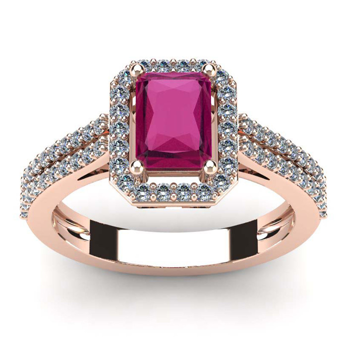 1 1/2 Carat Emerald Cut Ruby and Halo Diamond Ring In 14 Karat Rose Gold