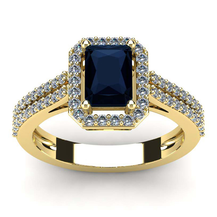 1 1/2 Carat Emerald Cut Sapphire and Halo Diamond Ring In 14 Karat Yellow Gold