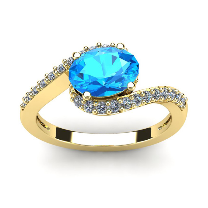 1 3/4 Carat Oval Shape Blue Topaz and Halo Diamond Ring In 14 Karat Yellow Gold