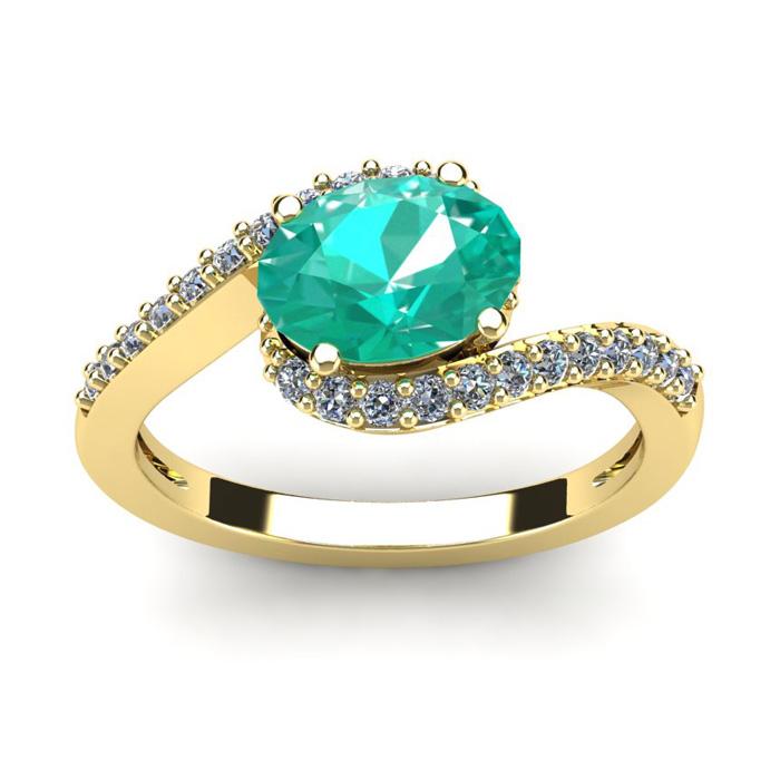 1 1/2 Carat Oval Shape Emerald and Halo Diamond Ring In 14 Karat Yellow Gold