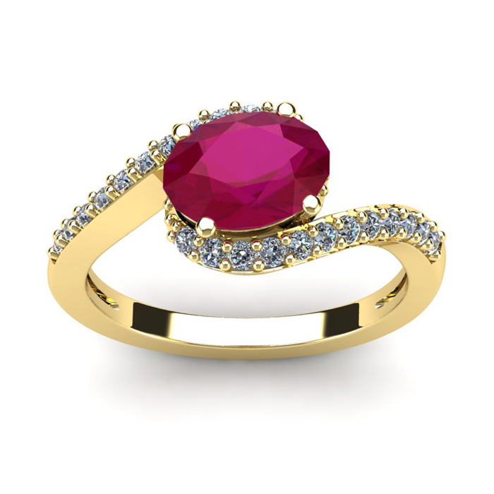 1 3/4 Carat Oval Shape Ruby and Halo Diamond Ring In 14 Karat Yellow Gold