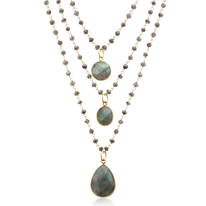 138 Carat Labradorite Triple Strand Beaded Necklace In 14K Yellow Gold, 26 Inches