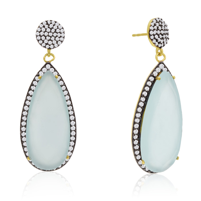 32 Carat Pear Shape Green Chalcedony and Simulated Diamond Dangle Earrings In 14K Yellow Gold