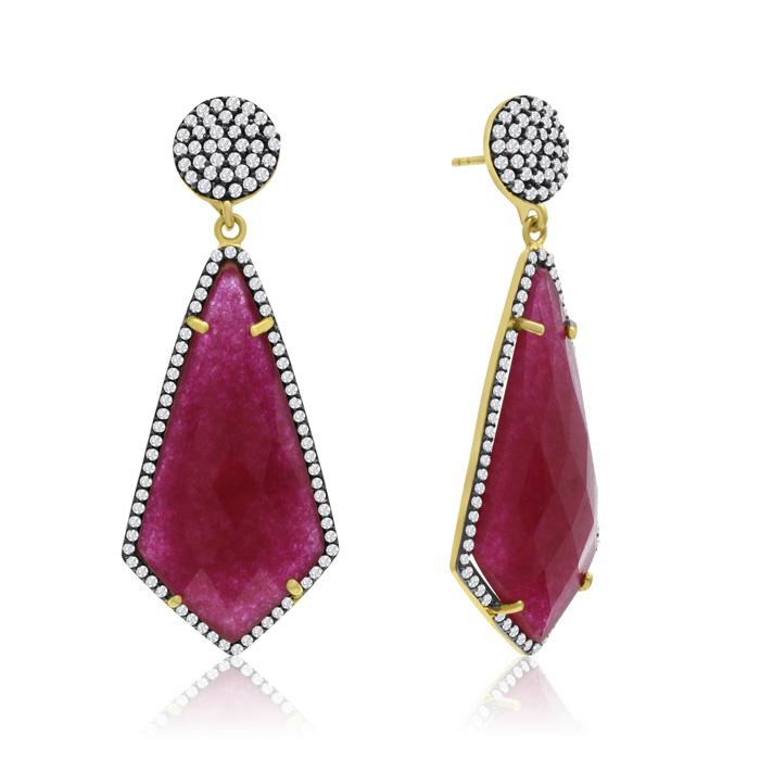 45 Carat Diamond Shape Ruby and Simulated Diamond Dangle Earrings In 14K Yellow Gold