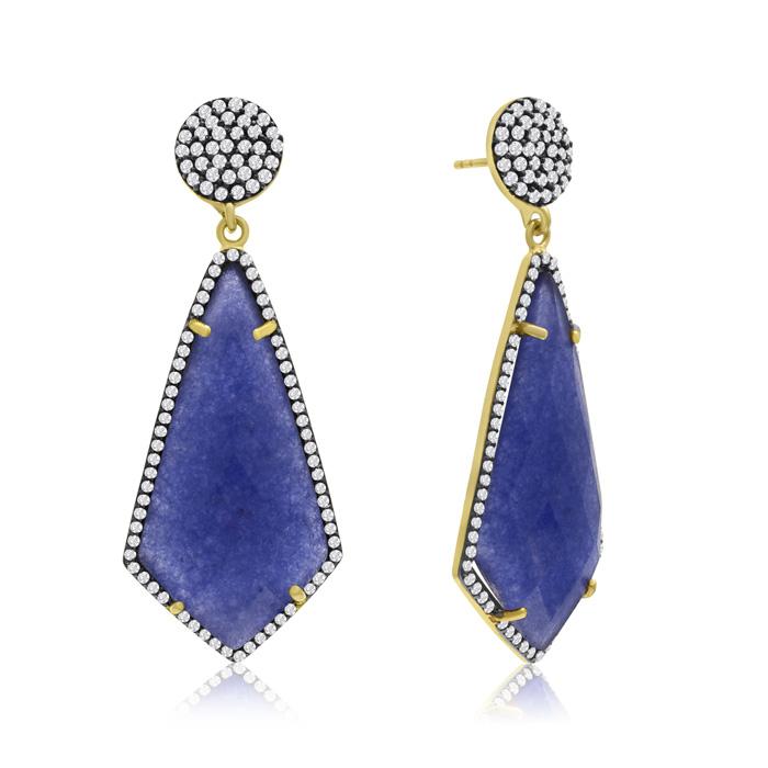 45 Carat Diamond Shape Blue Sapphire and Simulated Diamond Dangle Earrings In 14K Yellow Gold