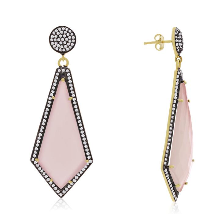45 Carat Diamond Shape Rose Quartz and Simulated Diamond Dangle Earrings In 14K Yellow Gold