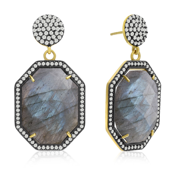 79 Carat Octagon Shape Labradorite and Simulated Diamond Dangle Earrings In 14K Yellow Gold