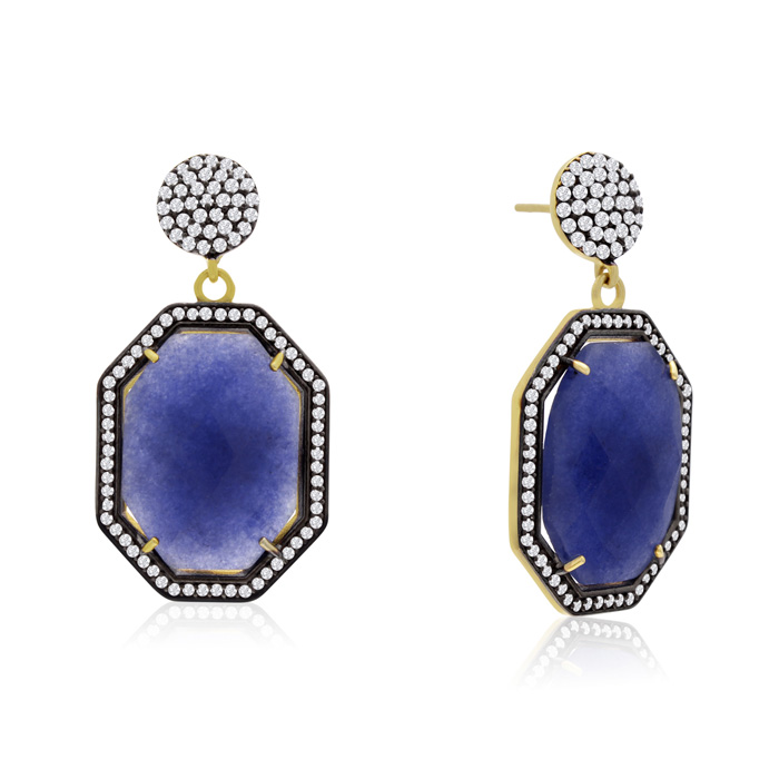 79 Carat Octagon Shape Blue Sapphire and Simulated Diamond Dangle Earrings In 14K Yellow Gold
