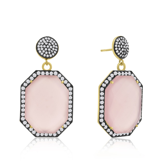 79 Carat Octagon Shape Rose Quartz and Simulated Diamond Dangle Earrings In 14K Yellow Gold