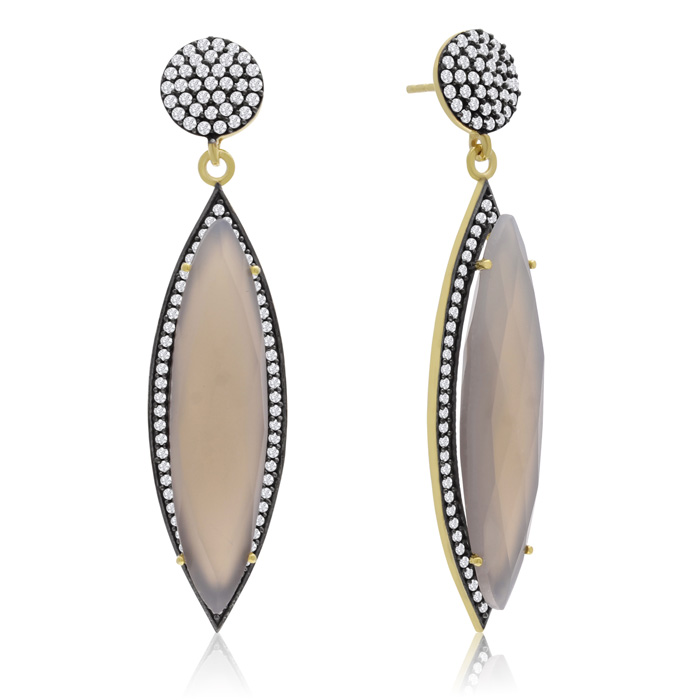 56 Carat Marquise Shape Gray Moonstone and Simulated Diamond Dangle Earrings In 14K Yellow Gold