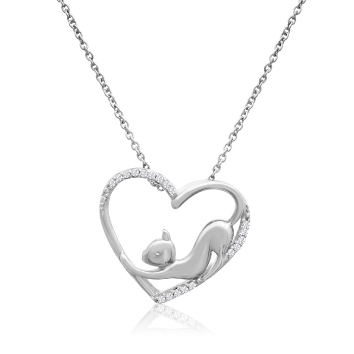 ASPCA® Tender Voices® Sterling Silver Diamond Stretching Cat In Heart Necklace 1/10cttw
