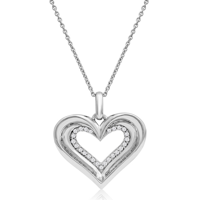 Sterling Silver 1/4 Carat Two Become One Heart Necklace, 18 Inches