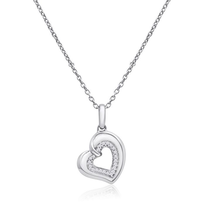 Sterling Silver 0.06 Carat Two Become One Heart Necklace, 18 Inches