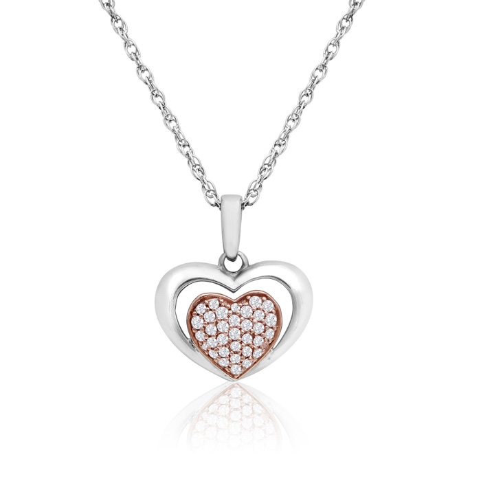 Sterling Silver and 10K Rose Gold 0.15 Carat Diamond Pave Heart Necklace, 18 Inches