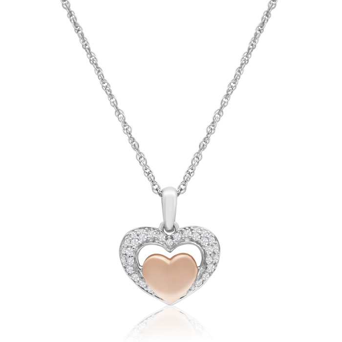 Sterling Silver and 10K Rose Gold 0.16 Carat Diamond Heart Necklace, 18 Inches