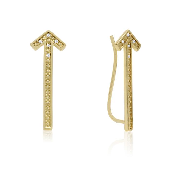 Diamond Accent Arrow Ear Climbers In Gold
