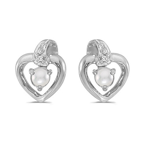 14k White Gold Pearl And Diamond Heart Earrings