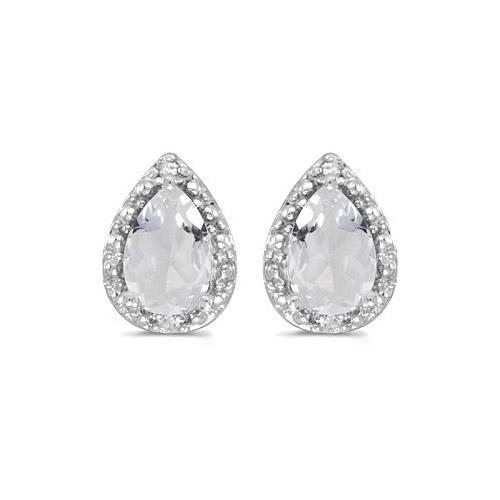 10k White Gold Pear White Topaz And Diamond Earrings